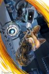 1girl aperture_laboratories aperture_science_handheld_portal_device artist_name breasts brown_hair chell cleavage dated glados pants ponytail portal_2 shirt wheatley zzyzzyy