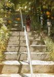 black_hair forest highres hitodama horns japanese_clothes kimono kurohal long_hair nature oni original polearm stairs weapon