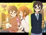 2girls bench brown_eyes brown_hair cellphone glasses hirasawa_yui k-on! kisuke_(akutamu) manabe_nodoka multiple_girls phone red-framed_glasses semi-rimless_glasses short_hair under-rim_glasses