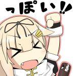 >_< 1girl :d blonde_hair bow chibi fang hair_bow hair_ornament hairclip kantai_collection kuronekoalice_(alice_syndrome) open_mouth personification smile yuudachi_(kantai_collection)