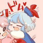 2girls baby blue_hair bow closed_eyes fujiwara_no_mokou hair_bow hat hug kamishirasawa_keine komaku_juushoku long_hair multiple_girls ribbon short_hair silver_hair touhou younger