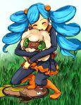 1girl ^_^ ace_trainer_(pokemon) aqua_hair black_legwear blush closed_eyes drill_hair hair_ornament hogi hug npc pantyhose poke_ball pokemon pokemon_(game) pokemon_bw scrunchie skirt stunfisk twin_drills whimsicott