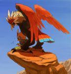 blue_sky braviary family mountain no_humans pokemon pokemon_(creature) rock rufflet sky yuza