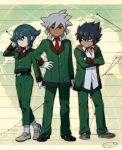 3boys baddap_sleed belt blazer cosplay danball_senki danball_senki_wars eska_bamel gloves grin inazuma_eleven inazuma_eleven_(series) male map mistorene_callus mizuhara_aki multiple_boys necktie open_clothes open_jacket smile