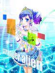 aikatsu! blue_eyes blue_hair crown cyber dress gloves kiriya_aoi long_hair side_ponytail