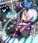 1boy butterfly c.seryl glasses gloves hair_ornament jacket looking_back necktie open_mouth original short_hair smile solo white_hair