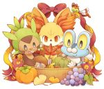 autumn basket bow chespin chestnut creature fennekin food froakie fruit grapes leaf looking_at_viewer looking_down maple_leaf no_humans orange_eyes pokemon pokemon_(creature) pokemon_(game) pokemon_xy pumpkin ribbon sitting smile uppi white_background yanma yellow_sclera