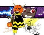 1girl antennae beck_(mighty_no._9) bob_cut cape dark_skin ernie_lee grin halloween halloween_costume happy_halloween jack-o'-lantern lightbulb mighty_no._3 mighty_no._9 no_feet purple_hair red_eyes revealing_cutout robot robot_joints short_hair smile solo_focus watermark web_address