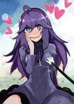 1girl @_@ ahoge blue_eyes blush breasts dress groping hairband hand_on_own_cheek heart heart-shaped_pupils hex_maniac_(pokemon) long_hair looking_at_viewer nerotarou@seven npc pokemon pokemon_(game) pokemon_xy purple_hair sitting smile solo stylus sweater symbol-shaped_pupils