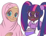2girls blue_eyes blush book dark_skin fluttershy glasses hijab humanization junk_(junko-tan) lips looking_at_viewer multicolored_hair multiple_girls my_little_pony my_little_pony_friendship_is_magic open_mouth personification pink_hair purple_hair simple_background smile twilight_sparkle twintails violet_eyes white_background