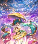 1girl aqua_eyes aqua_hair bow choker city clouds dress flower hair_flower hair_ornament hatsune_miku long_hair open_mouth repi987 sky solo thighhighs twintails umbrella very_long_hair vocaloid