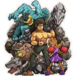 1boy dark_skin elite_four hitmonchan hitmonlee kafun machamp muscle onix poke_ball pokemon pokemon_(creature) pokemon_(game) pokemon_rgby shiba_(pokemon) shirtless white_background