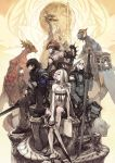 albino angelus animal bench black_eyes black_hair blue_skin book boots braid brown_hair caim cloak crossover drag-on_dragoon drag-on_dragoon_2 drag-on_dragoon_3 dragon everyone flower fujisaka_kimihiko gloves grey_eyes grimoire_weiss legna long_hair mikhail_(drag-on_dragoon) nier nier_(young) nowe official_art pants red red_eyes ribbon short_hair sitting sitting_on_bench smile sword thighhighs weapon white white_hair zero_(drag-on_dragoon)