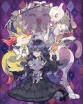 1girl ahoge black_hair braixen dress eating espurr hairband hex_maniac_(pokemon) jellicent mewtwo nishihara_isao pokemon pokemon_(creature) pokemon_(game) pokemon_xy violet_eyes