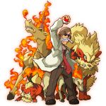 1boy arcanine bald coat facial_hair fire growlithe gym_leader kafun katsura_(pokemon) mustache necktie poke_ball pokemon pokemon_(creature) pokemon_(game) pokemon_frlg ponytail rapidash sunglasses