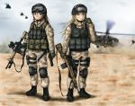 2girls aimpoint american_flag assault_rifle battle_rifle beretta_m9 black_hawk_down blonde_hair blue_eyes boots brown_eyes brown_hair camouflage flashlight gloves gun headset helicopter helmet load_bearing_vest m14 m4_carbine magazine_(weapon) military multiple_girls nightvision original pistol rifle sling_(weapon) specterz trigger_discipline uh-60_blackhawk walkie-talkie weapon