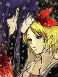 1girl age_difference blonde_hair blood couple iroha_uta_(vocaloid) kagamine_rin kamui_gakupo kiss long_hair male nia_(artist) nia_(four_winds) purple_hair sarashi short_hair vocaloid