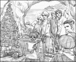 bottle broken-land cake casual christmas christmas_tree drunk elf facial_mark food forehead_mark funghi_(suikoden) gensou_suikoden gensou_suikoden_iv jewel_(suikoden) keneth lazlo monochrome pastry paula_(suikoden) pointy_ears snowe_vingerhut suikoden suikoden_iv tal tree