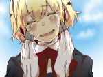 aegis android blonde_hair blush bow closed_eyes persona persona_3 school_uniform smile solo tears