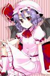 bat_wings hat lavender_hair pink red_eyes remilia_scarlet sasai sasai_saki short_hair solo touhou wings