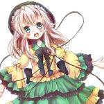 1girl adapted_costume dress eyeball frilled_dress frills green_eyes hat komeiji_koishi long_hair mochi0103 open_mouth outstretched_arms ribbon silver_hair solo third_eye touhou wide_sleeves