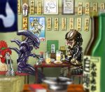 alien aliens_vs_predator ass beer beer_mug black_wings blurry chopsticks depth_of_field eating futaba_channel hal9500 newborn nude parody partially_translated predator predator_(film) restaurant rozen_maiden shikishi_(object) translation_request wings xenomorph yautja