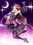 1girl :d armpits bare_shoulders boots bow brown_hair city crescent_moon dress flower frills gloves hair_flower hair_ornament high_heels idolmaster long_hair microphone minase_iori moon night open_mouth pointing red_eyes shoes smile solo thigh-highs tkhs vertical-striped_legwear vertical_stripes wire
