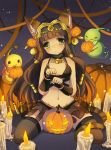 1girl animal_ears bastet_(p&d) brown_hair cat_ears cat_tail cockeyed crown dark_skin emia_wang green_eyes halloween jewelry long_hair paw_pose puzzle_&_dragons solo tail thighhighs