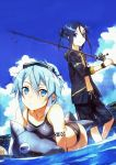 1boy 1girl abec absurdres all_fours arm_strap bare_shoulders bikini black_bikini black_eyes black_hair blue_eyes blue_hair blue_sky fishing_rod goggles goggles_on_head hair_between_eyes highres inflatable_dolphin kirito kirito_(sao-ggo) looking_at_viewer navel partially_submerged scan shinon_(sao) short_hair sky smile swim_trunks swimsuit sword_art_online tankini wading wet wristband