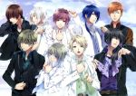 6+boys absurdres akito_shukuri albino black_hair blonde_hair blue_eyes blue_hair braid brown_hair closed_eyes earrings glasses green_eyes grey_eyes grey_hair happy heishi_otomaru highres huge_filesize incredibly_absurdres itsuki_kagami jacket jewelry kakeru_yuiga long_hair masamune_tooya multiple_boys muroboshi_ron natsuhiko_azuma necktie nijou_sakuya norn9 open_mouth orange_hair ponytail purple_hair red_eyes scarf senri_ichinose short_hair side_ponytail smile tongue white_hair wink