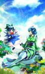 2girls animal_on_head arms_behind_head bird bird_on_head blue_dress blue_eyes blue_hair blue_sky bow cirno clouds dress duck flower flying hair_bow head_fins highres ice ice_wings japanese_clothes kimono lake mermaid monster_girl multiple_girls obi open_mouth shirt short_sleeves sitting_on_rock sky smile touhou umigarasu_(kitsune1963) wakasagihime wings