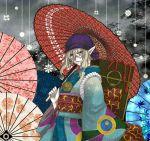 1boy bandana blonde_hair colorful earrings floral_print japanese_clothes jewelry kimono kusuriuri_(mononoke) long_hair looking_at_viewer male mononoke oriental_umbrella pointy_ears sash shiina_yuuto solo umbrella