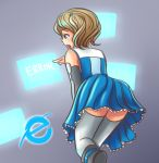123hamster 1girl blue_eyes brown_hair detached_sleeves dress holographic_touchscreen internet_explorer microsoft personification short_hair simple_background solo tears thighhighs