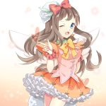 1girl blush brown_hair dress eni kyoukai_no_kanata long_hair open_mouth ribbon shindou_ai skirt smile solo wings wink