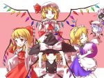6+girls alternate_costume apron ascot ball bat_wings blonde_hair blue_dress blue_hair bow braid brooch camera chibi closed_eyes detached_sleeves dress enmaided fang flandre_scarlet four_of_a_kind_(touhou) fourth_wall hair_bow hair_tubes hakurei_reimu hakurei_reimu_(cosplay) hat hat_bow hat_tug highres izayoi_sakuya izayoi_sakuya_(cosplay) jewelry kirisame_marisa kirisame_marisa_(cosplay) long_sleeves looking_at_viewer maid maid_headdress minust mob_cap multiple_girls o_o pink_dress pose puffy_sleeves red_eyes remilia_scarlet_(cosplay) shirt short_sleeves silver_hair single_braid skirt skirt_set smile touhou vest waist_apron wide_sleeves wings witch_hat wrist_cuffs