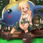 1girl blonde_hair boots forest green_eyes gym_leader highres nature open_mouth pokemon pokemon_(game) pokemon_xy scatterbug shorts surskit tank_top tugo viola_(pokemon)