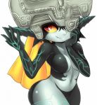 1girl blonde_hair breasts fang helmet imp long_hair mato_spectoru midna navel neon_trim no_nipples one_eye_covered pointy_ears red_eyes smile solo the_legend_of_zelda twilight_princess white_background wide_hips yellow_sclera