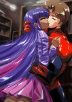 absurdres artist_request closed_eyes couple highres kiss long_hair marvel multicolored_hair my_little_pony my_little_pony_friendship_is_magic personification peter_parker purple_hair skirt spider-man twilight_sparkle