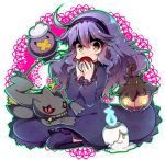 1girl @_@ ahoge banette brown_eyes dress drifloon hairband hex_maniac_(pokemon) litwick long_hair looking_at_viewer messy_hair noni-nani npc poke_ball pokemon pokemon_(creature) pokemon_(game) pokemon_xy pumpkaboo purple_hair sitting solo
