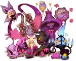banette chandelure clamperl diglett ditto doublade drifloon espeon espurr gastly highres koffing mienshao mismagius no_humans noibat onisuu pokemon pokemon_(creature) purple tears
