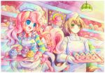 1boy 1girl :d apron bakery blue_eyes blush colorful donut_joe emperpep gloves green_eyes hat horn long_hair muffin my_little_pony my_little_pony_friendship_is_magic open_mouth personification pink pink_hair pinkie_pie shop signature smile traditional_media waist_apron watercolor_(medium)