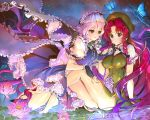2girls barefoot black_gloves blue_eyes blush braid breasts butterfly fingerless_gloves flower gloves hat hong_meiling izayoi_sakuya knife large_breasts long_hair maid maid_headdress multiple_girls redhead repi987 short_sleeves silver_hair smile touhou twin_braids water