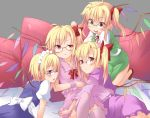 4girls ahoge bespectacled blonde_hair blush bow cosplay crescent dress fang flandre_scarlet four_of_a_kind_(touhou) glasses hair_bow hong_meiling hong_meiling_(cosplay) izayoi_sakuya izayoi_sakuya_(cosplay) long_hair long_sleeves looking_at_viewer maid maid_headdress multiple_girls patchouli_knowledge patchouli_knowledge_(cosplay) pink_legwear red_eyes remilia_scarlet remilia_scarlet_(cosplay) short_sleeves side_ponytail smile spirytus_tarou star thighhighs touhou wings wrist_cuffs