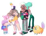 2boys 2girls :< =< animal_on_head artist_name backpack bag bee bee_(bee_and_puppycat) bee_and_puppycat bee_the_human_girl bell bird bird_on_head blush_stickers bow bowl_cut brown_hair character_request child dark_skin deckard dog envelope eye_contact food fruit green_hair hug jacket jingle_bell long_hair looking_at_another midriff multiple_boys multiple_girls natasha_allegri necktie open_mouth puppycat short_hair shorts simple_background smile sparkle standing white_background white_hair |_|