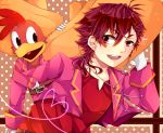 1boy bird doily dual_persona gloves hat heart heart_of_string looking_back male panchito_pistoles personification polka_dot polka_dot_background red_eyes redhead satsumaage_(miyabi-blue-7) short_hair smile sombrero the_three_caballeros