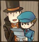 2boys blush_stickers cabbie_hat hat hershel_layton luke_triton multiple_boys professor_layton reading top_hat yusano