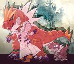 1boy crossover dinosaurs doctor_ferdinand hood jojo_no_kimyou_na_bouken long_coat orange_hair pokemon pokemon_(game) pokemon_xy sizma steel_ball_run tyrantrum tyrunt