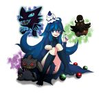 1girl @_@ ahoge banette blue_eyes blue_hair character_request glowing glowing_eyes hair_ribbon haunter hex_maniac_(pokemon) highres hondy kneehighs litwick long_hair nail_polish npc paw_pose poke_ball pokemon pokemon_(creature) pokemon_(game) pokemon_xy pumpkaboo ribbon very_long_hair