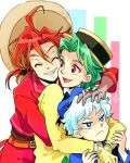 3boys :< closed_eyes donald_duck earrings green_hair grin hand_on_another's_head hug hug_from_behind jewelry jose_carioca lowres male multiple_boys panchito_pistoles personification ponytail redhead smile sombrero the_three_caballeros tsuntsun_(tuuuuuuntun) white_hair