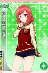 1girl blush love_live!_school_idol_project nishikino_maki official_art purple_eyes red_hair short_hair shorts solo track_jacket
